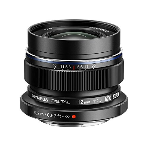 Olympus M.Zuiko Digital ED 12mm F2.0 Lens, for Micro Four Thirds Cameras (Black)