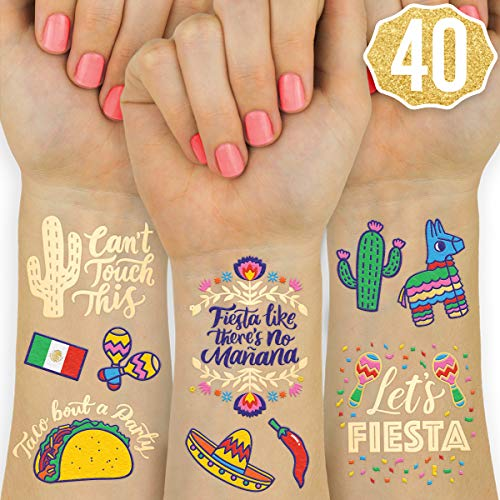 (xo, Fetti Fiesta Party Supplies Metallic Tattoos - 40 styles | Cinco De Mayo Decorations, Final Fiesta Bachelorette + Mexican)