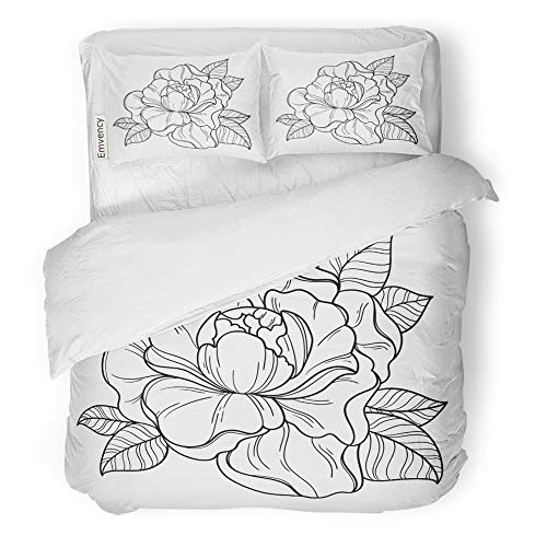 Emvency Decor Duvet Cover Set King Size Fantasy Peony Flower Floral Coloring Book Page for Adult Summer Bohemia Ticket 3 Piece Brushed Microfiber Fabric Print Bedding Set Cover -