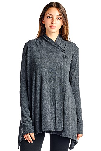 Modern Kiwi Solid Knit Asymmetric Buttoned Thumb Glove Cardigan Charcoal Medium