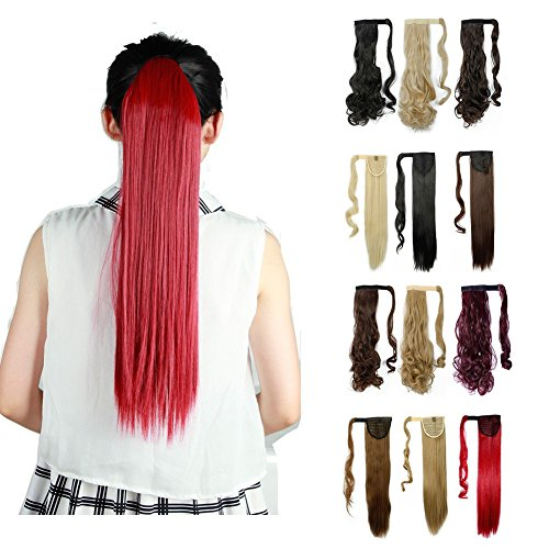 Wrap Around Synthetic Ponytail One Piece Heat Resistant Magic Paste Pony Tail Long Straight Soft Silky for Women Lady Girls 26'' / 26 inch (dark red)