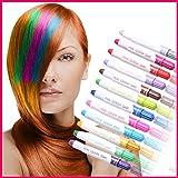 2 Haarstifte Haarfarbe Haarkreide Färben Haartönung Kreide Farben Hair Chalks, Farben:Rot/Silber mit Glitzer