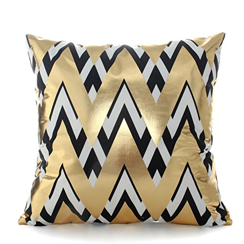 Kingla Home Bronzing Flannel Pillowcase 18 Inch Indoors or Outdoors Cushion Covers Geometric Pattern Throw Pillow Covers Home (Living Room Outdoor Sofa)