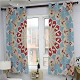"""Classic Decor Collection for Bedroom - Energy Efficient,Luxurious Royal Classics Stylish Summertime Exotic Arabic Style Art Print,Room Darkening Blackout CurtainsLight Blue Red Ivory72""""x 63"""""""
