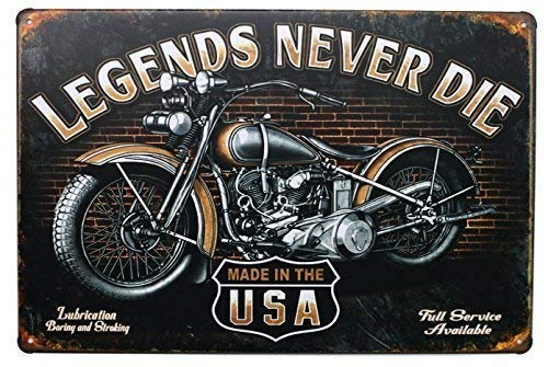 TimSign Legends Never Die Sign Aluminum Metal Sign Plate