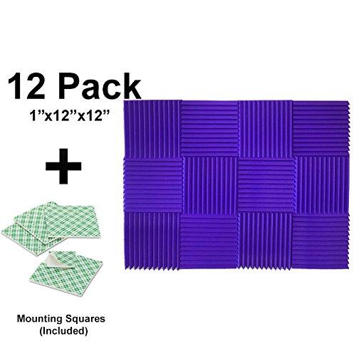 12-pk-1x12x12-purple-soundproofing-foam-acoustic-tiles-studio-foam-sound-wedges-with-24-double-sided