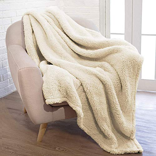 Furrybaby Premium Fluffy Fleece Dog Blanket, Soft and Warm Pet Throw for Dogs & Cats (Jumbo 59x78'', Beige)