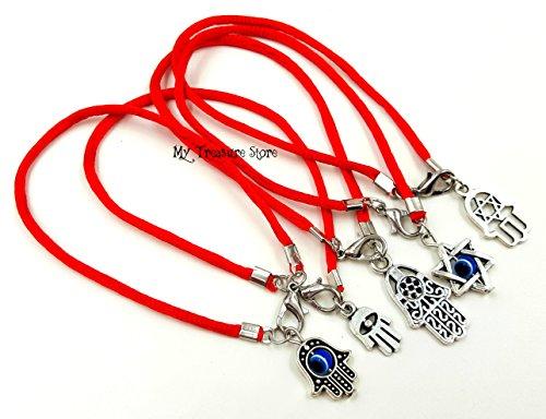 Protection Hamsa Bracelet (5 Mixed KABBALAH RED STRING BRACELETS Evil Eye Protection With Hamsa Hand And Star Charms)