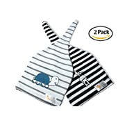 Joylific Baby Hat Newborn, Adjustable Top Knot Hat, Beanie Hats Stripe, Two Pack, 100% Soft Cotton, Hospital Hat, Perfect Baby Shower Gift, Cute Amu the Turtle and Joie the Rabbit Print