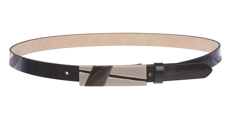 MONIQUE Women Skinny Horseshoe Rhinestone Buckle Faux Leather 19mm Wide Belt