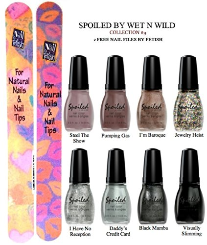 WET N WILD Spoiled Nail Color COLLECTION #9 OF 8 Shades Plus 2 Free Nail Files From fetish for Natural Nails And Nail Tips
