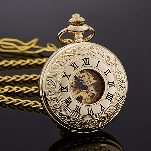 TREEWETO Antique Mens Pocket Watch Skeleton Mechanical Half Hunter Golden Case Roman Numerals by TREEWETO (Image #3)