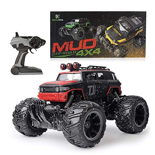 Mud Trucks (Gizmovine Mud Monster Pickup Remote Control RC Truck RC Car 1:16 Scale Rechargeable with Mud Splatter Paint Job (Red))