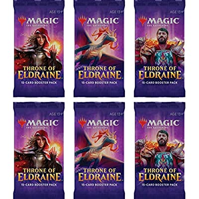 6 (Six) Booster Packs of Magic: The Gathering- Throne of Eldraine (6 Pack - ELD Booster Draft Lot): Toys & Games