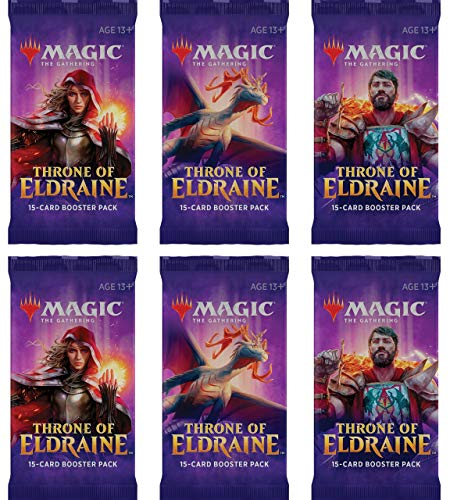 6 Six Booster Packs Of Magic: The Gathering- Throne Of Eldraine 6 Pack - ELD Booster Draft Lot