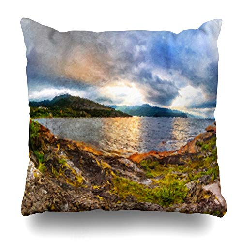 Ahawoso Throw Pillow Cover Circle Scandinavian Northern Nature Rocky Ground Green Moss Sky Sunset On Jiepmaluokta Bay in Design Decorative Pillowcase Square Size 18