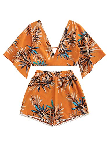 SweatyRocks Women's 2 Piece Boho Butterfly Sleeve Knot Front Crop Top with Shorts Set Orange #1 S
