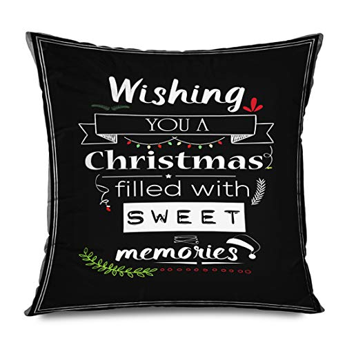 Ahawoso Throw Pillow Cover Square 20x20 Inch Board New Seasonal Holiday Merry Celebration Christmas Quote Wishing You Filled Abstract Holidays Decorative Zippered Pillowcase Home Decor Cushion Case (Wishing Merry Christmas Quotes)
