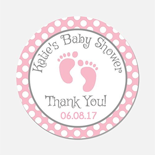 40 Personalized Pink Baby Feet Shower Favor Stickers - Baby Girl Favor Tags - Customized Baby Shower Favors