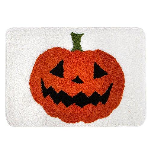 Halloween Plush Bath Rug Tossed Pumpkins Design Anti-Skid Backing