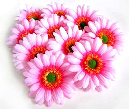 (100) BIG Silk Light Pink Gerbera Daisy Flower Heads , Gerber Daisies - 3.5&quot
