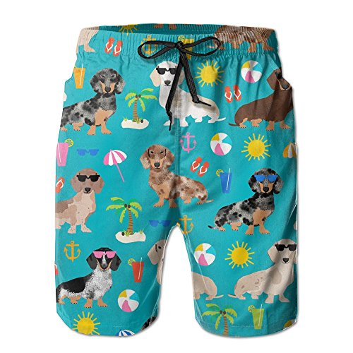 Victoria III Dachshund Dog Summer Beach Beachwear Board Shorts Swim Trunk (Large, White)