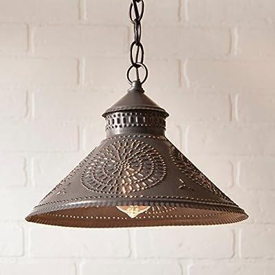 Stockbridge Shade Light with Chisel in Blackened Tin