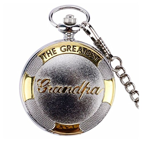 Bronze&Silver Grandpa Quartz Pocket Watch+Pocket Chain For Christmas Gifts Men (silver) from Unknown