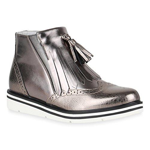 Stiefelparadies Damen Metallic Stiefeletten Chelsea Boots Plateau Schuhe Strick Zipper Glitzer Booties Profilsohle Lack Plateauschuhe Wedges Flandell Grau Metallic Quasten