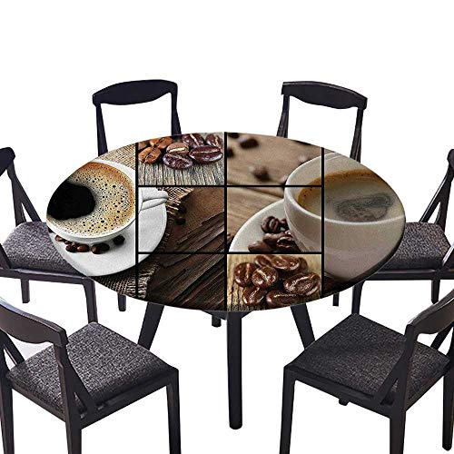 Circular Table Cover Themed Collage Close Up Mugs Beans on Wooden Table Aromatic Roasted Espresso Drink for Wedding Banquet 47.5