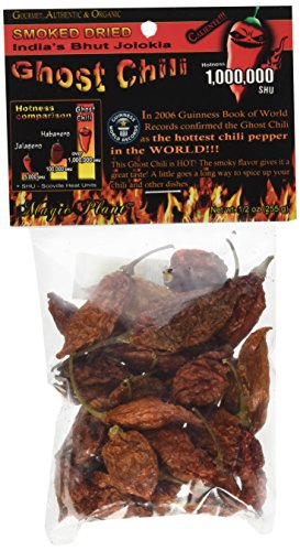 (Smoked and Dried Bhut Jolokia Ghost Chili Pepper Pods , .5 Ounce)