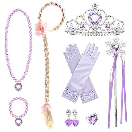loel Girls Crew-Neckone Vintage Swing Rapunzel Princess Party Costume Long Dresses (Free Size, Braid,Earings,Tiaras & Wand)