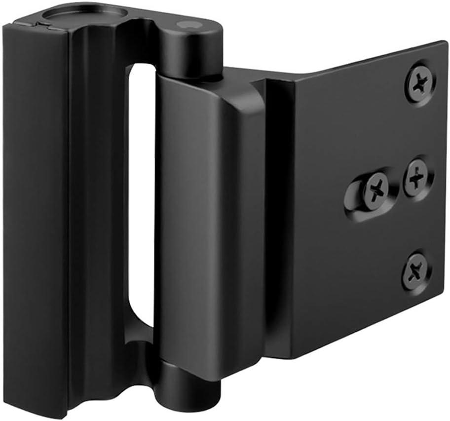 """Home Security Door Lock, Upgrade Easy Open Childproof Door Reinforcement Lock with 3"""" Stop Withstand 800 lbs for Inward Swinging Door, Nightlock Deadbolt Defend Your Home (Black)"""