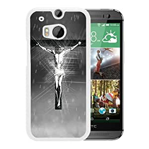 Beautiful Designed Cover Case For HTC ONE M8 With jesus on the cross White Phone Case