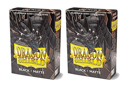Dragon Shield Bundle: 2 Packs of 60 Count Japanese Size Mini Matte Card Sleeves - Matte Black by Dragon Shield