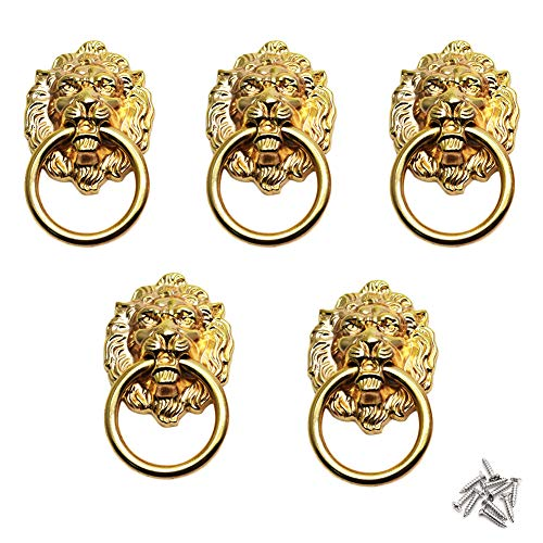(BTMB Cupboard Cabinet Wardrobe Drawer Lion Head Ring Pull Handle Gold Tone 5pcs)