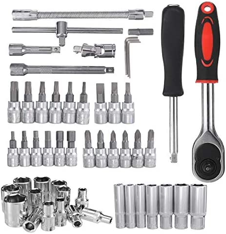 Spanners Car Boat Motorcycle Bicycle Hardware Repair Tool Ratchet Wrench Sleeve Kit 12/46/53Pcs (Type: : D)