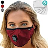 Face Mask: Best Air Pollution Universal FIT Dust Masks + 6 N99 Filter. Carbon Respirator & DustProof Safety Cover Mouth from Gas Exhaust Smoke, Pollen, Paint Use Cycling Running Women Men Kids (RED)