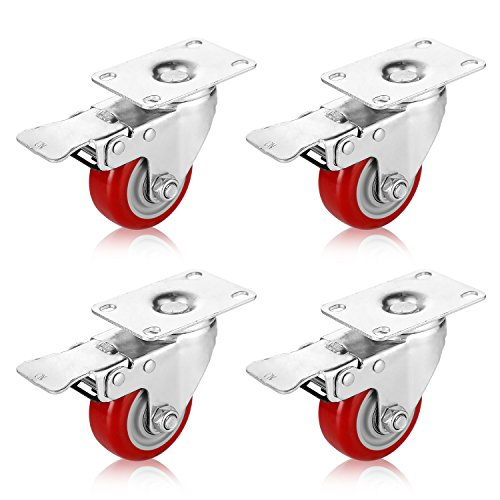 PARLOS 3'' Casters Wheels with Swivel Plate and Brake Red Polyurethane Wheels Heavy Duty Lockable, Pack of 4, 40008 (Polyurethane Red)