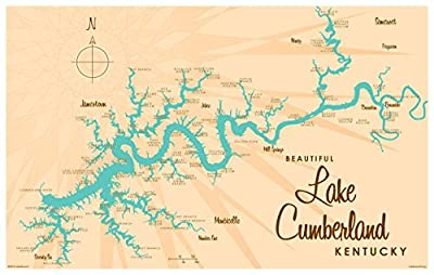Lake Cumberland Kentucky Map Giclee Art Print by Lakebound ({OutputSize.ShortDimensions}). Diagram Poster for Bedroom, Family Room, Kitchen, Dorm Room or Office Wall Décor.