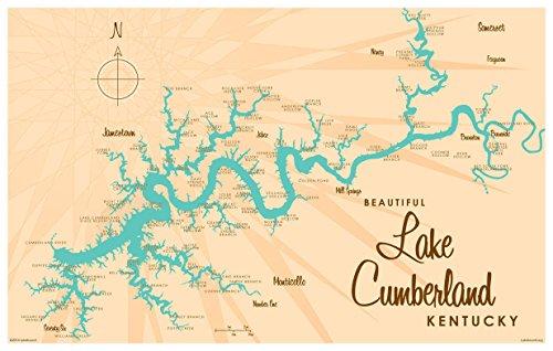 Lake Cumberland Kentucky Map Vintage-Style Art Print by Lakebound (12