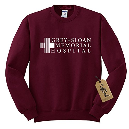(NuffSaid Grey Sloan Memorial Hospital Sweatshirt Sweater Crew Neck Pullover - Premium Quality (Medium, Maroon))