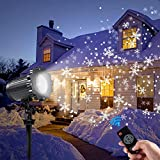 Decoration Projector Lights, Christmas Projector Lamp with Rotating Snowflake & Snow Falling, Remote Timer 4 Modes IP65 Waterproof LED Landscape Projector for Christmas Halloween Birthday Wedding Part