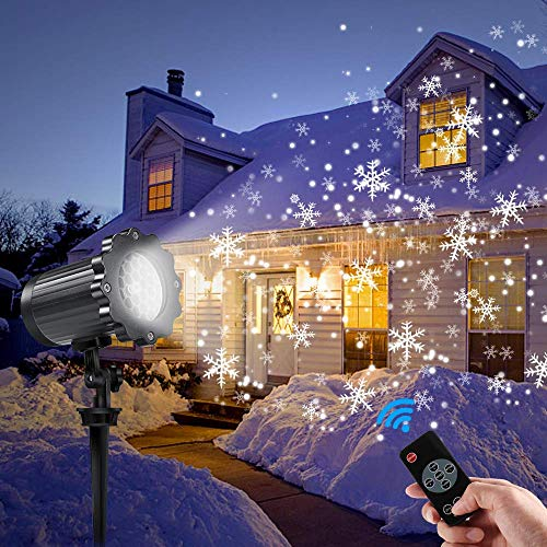 Outdoor Christmas Lights Falling Snow