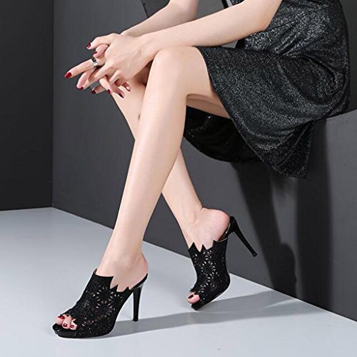 Thin Mouth Slippers High Female Sandals Hollow Wear Black Outer Heel Summer Fish Shoes wXq6wCBP0x