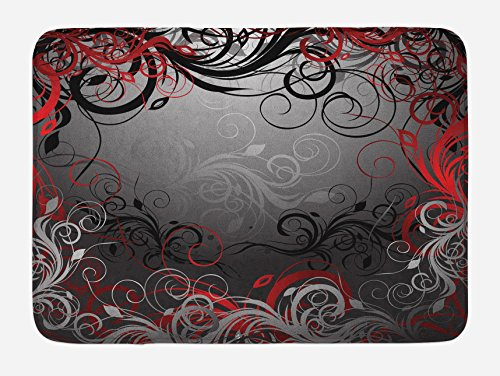 Lunarable Red and Black Bath Mat, Mystic Magical Forest Inspired Floral Swirls Leaves Nature Artwork, Plush Bathroom Decor Mat with Non Slip Backing, 29.5 W X 17.5 W Inches, Charcoal Grey Ruby