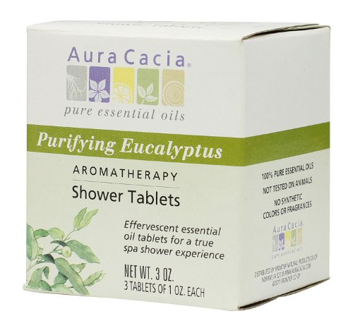 Aura Cacia Aromatherapy Shower Tablets, Purifying Eucalpytus, 3 ounce (Pack of 3)