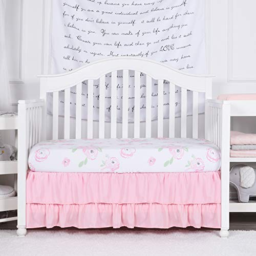 Pink Ruffle - TILLYOU Crib Skirt Dust Ruffle Double Layer, Microfiber Nursery Crib Toddler Bedding Skirts for Baby Girls, 14