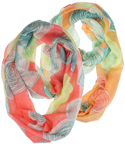 Vivian & Vincent 2 Pack of Soft Light Weight Elegant Sheer Infinity Scarf (Gift Idea) (Circle Coral & (Girls Halloween Ideas)