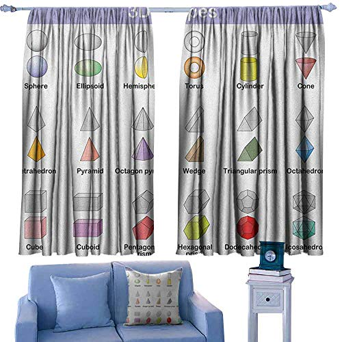 ParadiseDecor Educational Boys Bedroom Backout Curtains Learning The 3D Shapes for Kids Different Geometric Figures Teaching Collection,Printed Kids Nursery Curtain,W72 x L63 Inch